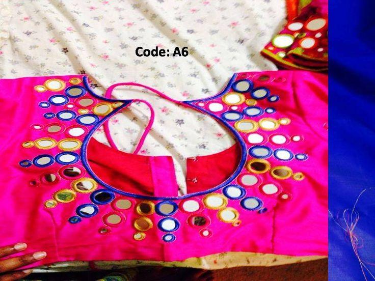 mirror work on blouse
