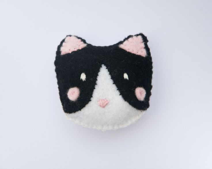 Handmade Cat Felt Brooch by LizzieMayDesign on Etsy