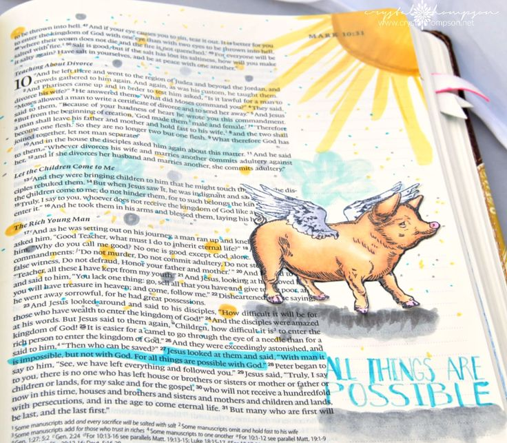 All things are possible with God, even a flying pig!! I love this entry made with our All Things Possible set. #jccolorbyfaith #crafting #study #biblejournaling #faith