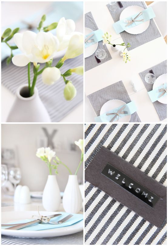 Black pin stripe / Blue table setting. Very fresh and stylish.