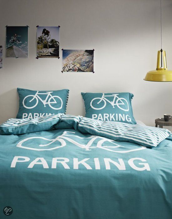 COVERS & CO Dekbedovertrekset Green Parking - val in slaap onder een fiets!