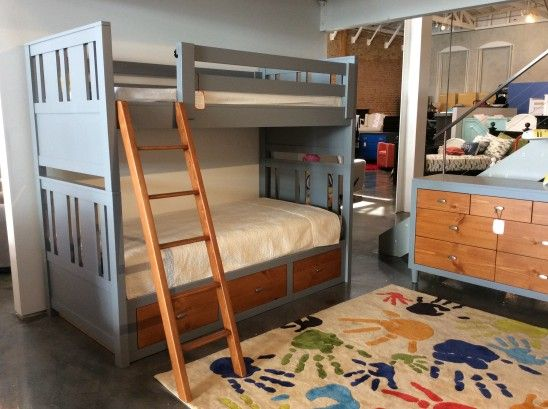 Perfect Milano Custom Made Two Tone Bunk Bed In Grey With Medium Brown.