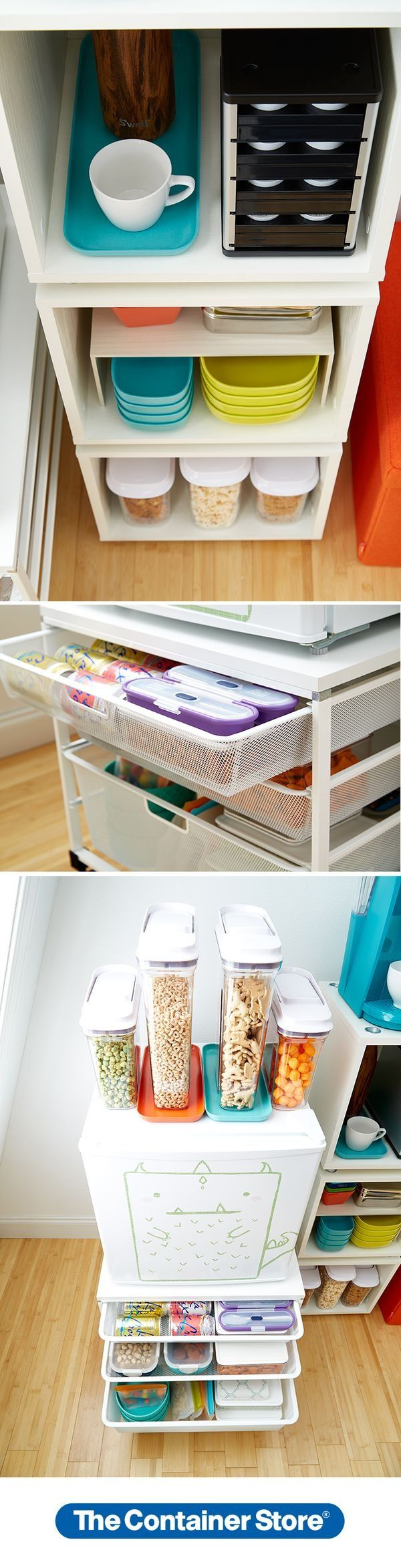 Our Vario Shelves to form a tower of storage. Our elfa Fridge Cart holds  your fridge and has drawers for snacks and utensils.