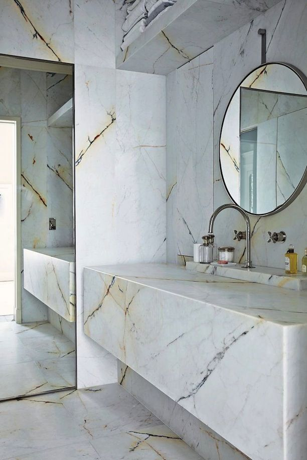 marble bathroom, See more inspirations at http://www.brabbu.com/en/inspiration-and-ideas/ #LivingRoomFurniture, #ModernHomeDécor, #MarbleDécorIdeas