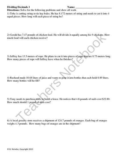 math worksheet : dividing decimals word problems 2 worksheets from reincke15 on  : Decimal Word Problems 5th Grade