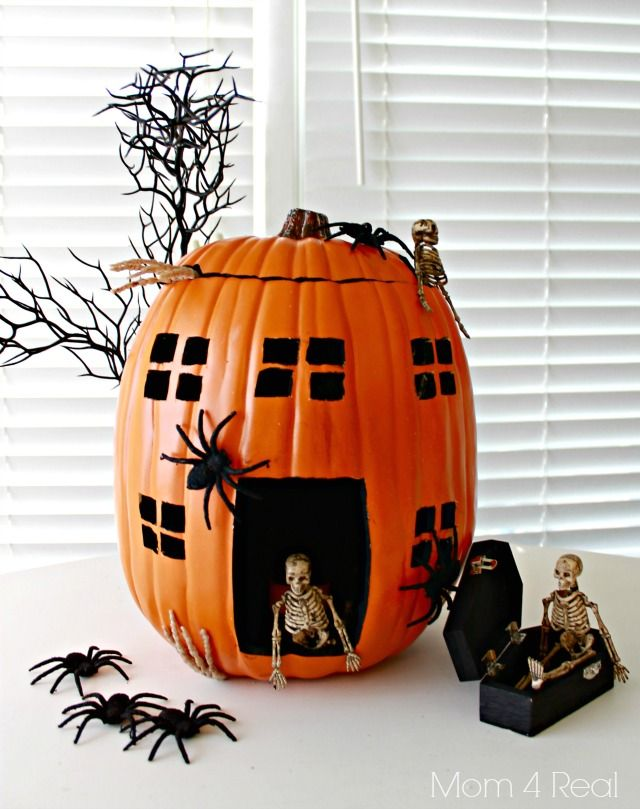 Haunted House Skeleton Pumpkin Made With a Foam Pumpkin @Jessica Kielman         {Mom 4 Real}