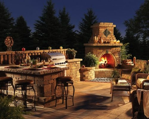 beautiful outdoor fireplace patio design hardscape - Outdoor Kitchens And Patios Designs