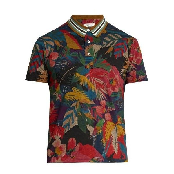 Valentino Tropical-print cotton polo shirt ($525) ❤ liked on Polyvore featuring men's fashion, men's clothing, men's shirts, men's polos, multi, men's cotton polo shirts, mens slim fit polo shirts, mens slim fit shirts, colorful mens dress shirts and mens polo shirts