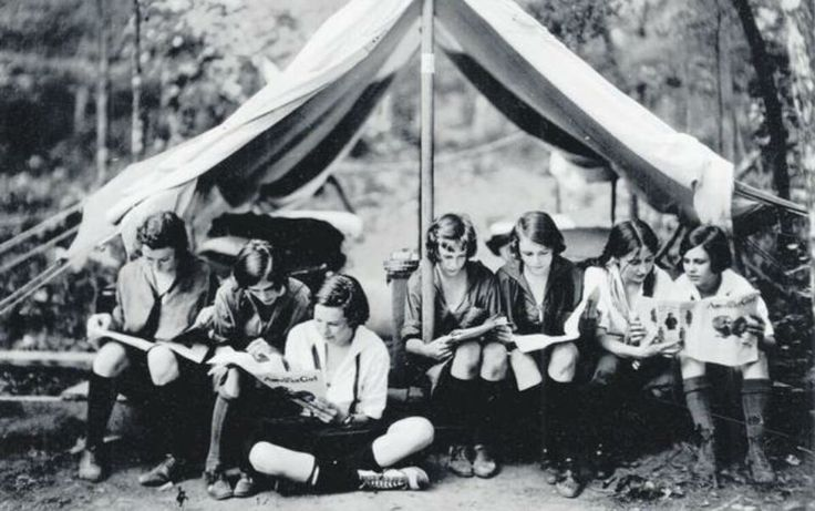 Girl Scouts at camp reading The American Girl magazine, 1923. #throwbackthursday