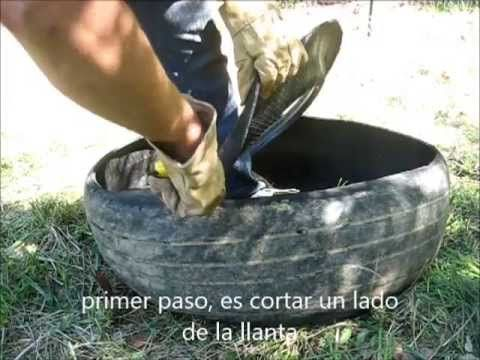 Como voltear una llanta una sola persona/ Turning a tire inside out - YouTube
