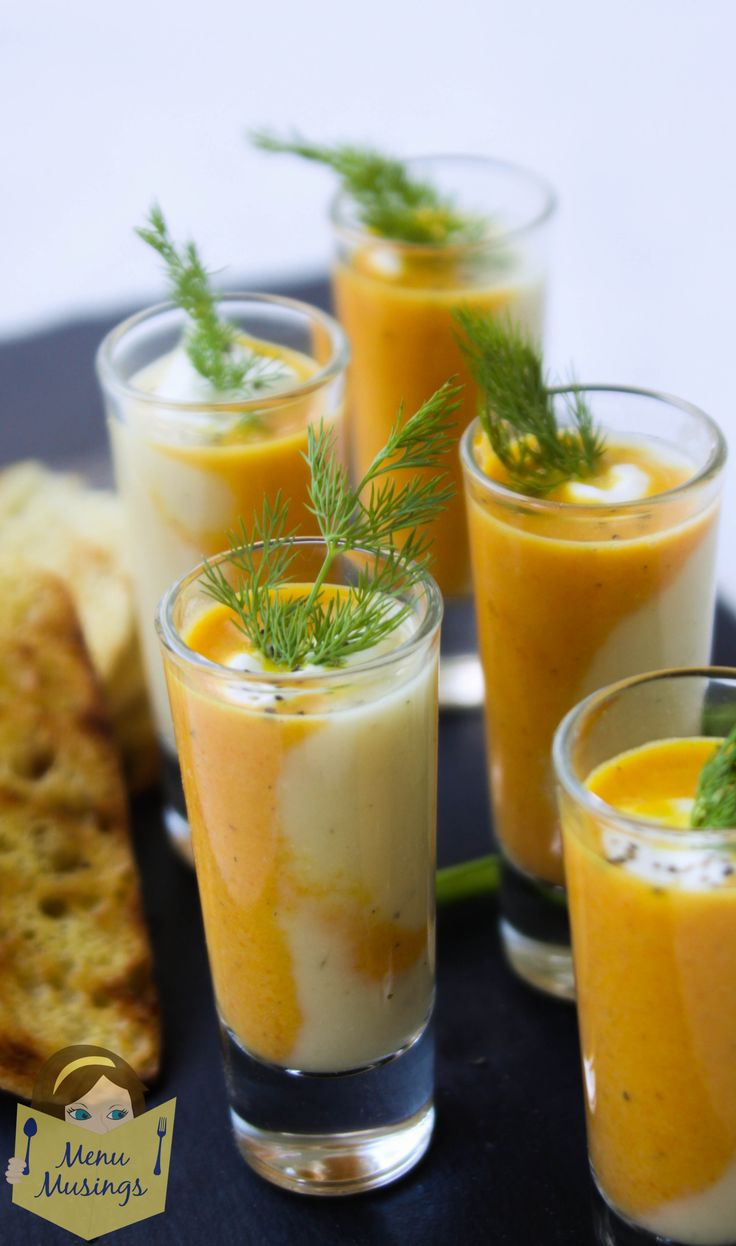 Duo of Roasted Carrot and Parsnip Soup Shooters – a step-by-step photo recipe tutorial to making this simple and wonderfully spiced, creamy soup duo which would be great as an elegant first course appetizer for a dinner party, or just on a cold day.  Curried roasted carrot soup and gingered roasted parsnip soup with warm Indian flavors.