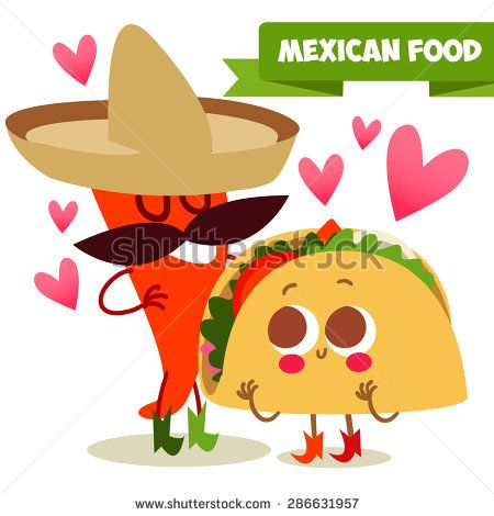 Postcard Valentine's Day. Illustration with funny characters. Love and hearts.Mexican traditional food. Red and hot! chili pepper and tacos with funny cartoon face  - stock vector