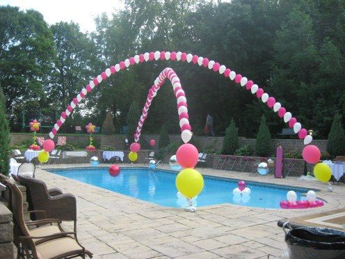 Summer pool parties- attach helium filled balloons to fishing line and attach the fishing line to the ends of your pool OR for those of us without pools… do this and stake each end into the ground