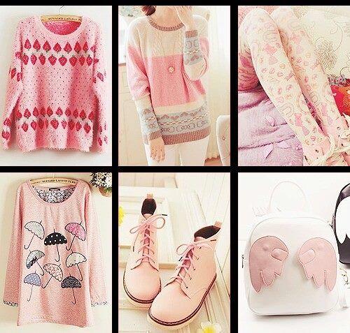 Modelos asiáticos, tiernos, color rosa. Swater, botas, bolso.