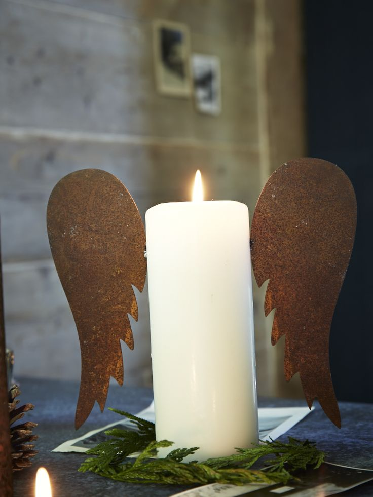 Rusty Candle Angel Wings