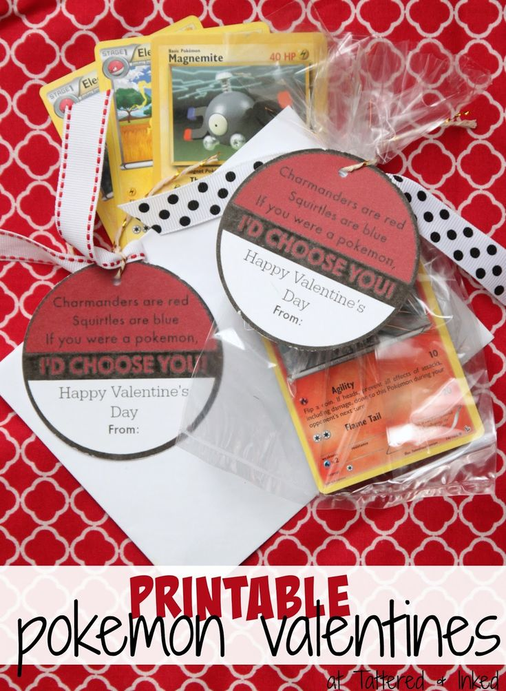 Tattered and Inked: {Sharing the Love} Day 5: Pokemon Valentine Printable. DIY Pokemon Valentines.