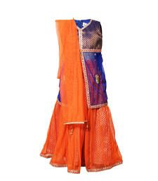 Buy Little Radha Net Orange  Sleeveless Kids Lehanga Choli kids-lehenga-choli online