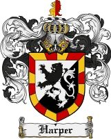 """Harper Coat of Arms / Harper Family Crest.  The Harper's are a Sept of the Buchanan Clan. The  Harper name comes from the Kingdom of Dalraida in ancient Scotland. It was a name for a person who worked as a person who occupies the role of """"harper"""". In ancient times the harper was considered an important figurehead whereby Brehon laws stated that the elegance and music of the harp deserved a noble status."""