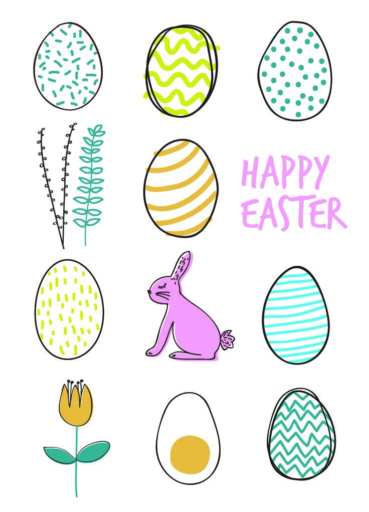happy easter eggs egg bunny spring flowers