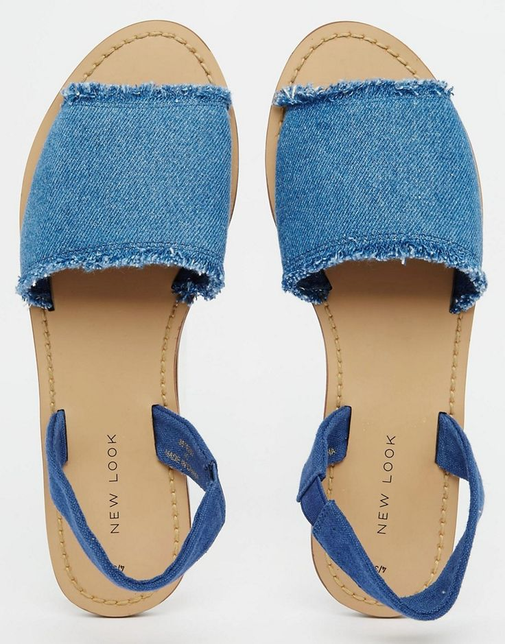 Image 3 of New Look Frayed Denim Sandal