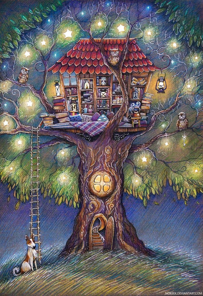 дерево, книги, лето, домик, сумерки, вечер, звезды, собака, совы, иллюстрация