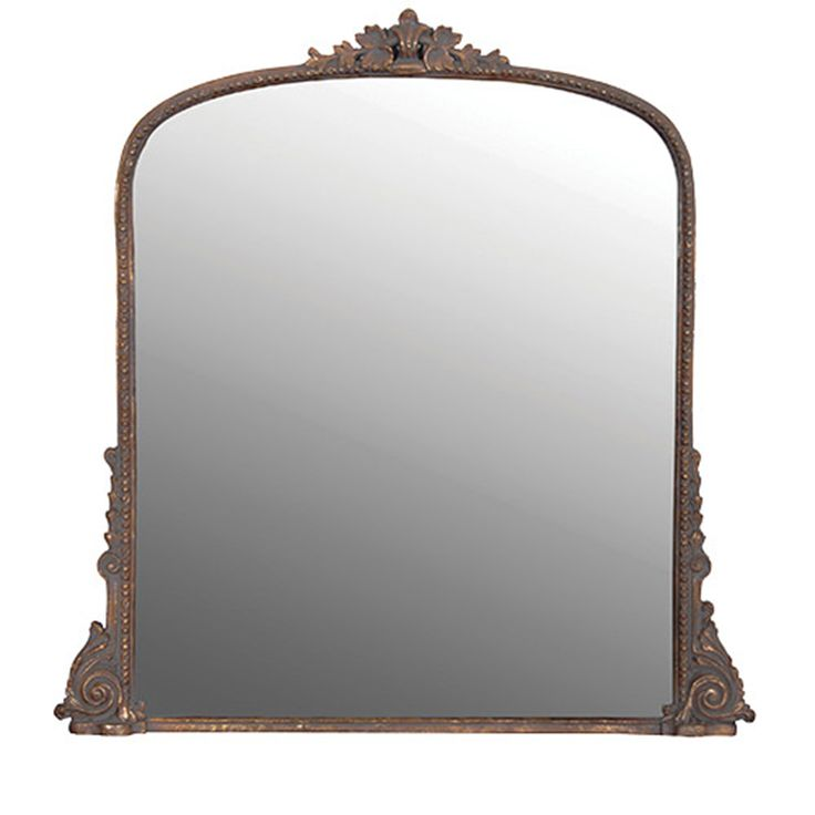 Large Carved Overmantle Mirror W100 x H102 cm