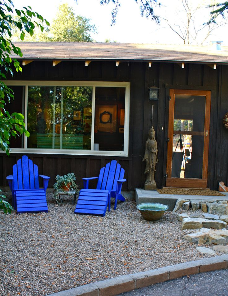 Love the color of the Adirondack Chairs - Twilight Blue by Benjamin Moore