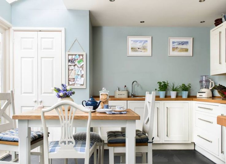 Duck egg blue kitchen with white cabinets