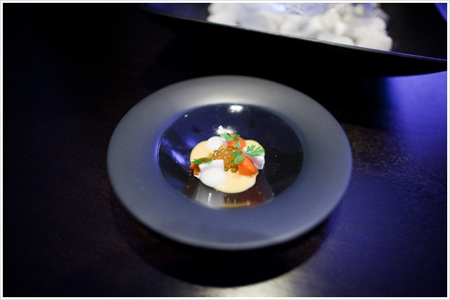 Dinner at *** 3 Michelin Star ALINEA in Chicago. 1st Course: Char Roe – Served with carrot, coconut, and yellow curry