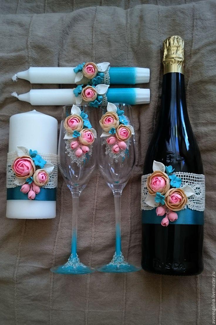 Свадебный набор - бирюзовый, розовый, свадебные аксессуары, свадебные бокалы, свадебный комплект