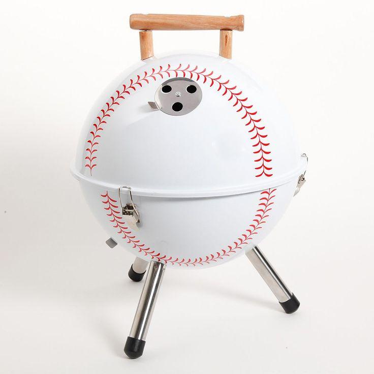 Gibson Baseball BBQ Portable Charcoal Grill, White