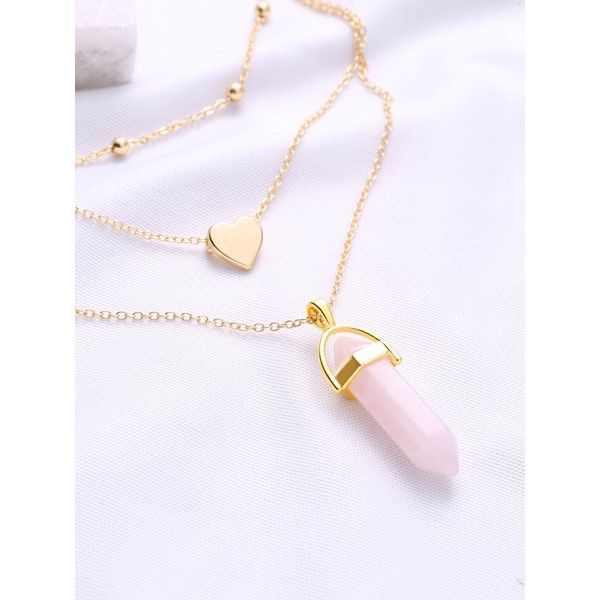 Gold Heart Pendant Layered Chain Necklace ❤ liked on Polyvore featuring jewelry, necklaces, gold pendant, multi strand gold necklace, gold jewelry, heart shaped necklace and multi-strand necklaces