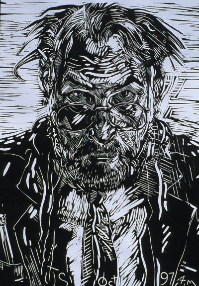 "Jerry Schutte, Self Linocut, 18x13,  I think the ""casualness"" of his style of cutting is brilliant.  So expressive.  Love it even more when I know it is his self-portrait."