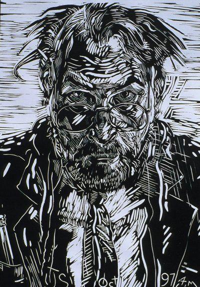 Jerry Schutte, Self Linocut
