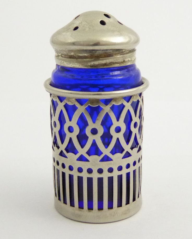 Antique Silver Plated Condiment Blue Glass Shaker - The Collectors Bag