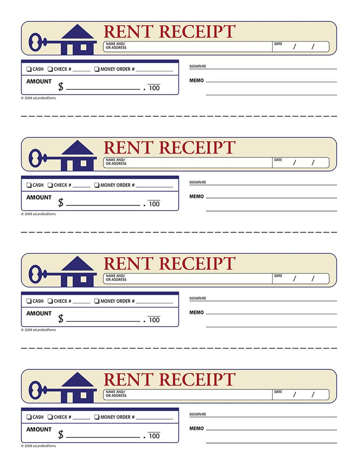 This ezLandlordForms standard rent receipt documents the tenant's payment of rent, including the amount, payment type, date and a space for the signature.