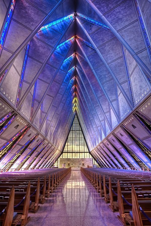 Glass Chapel at the Air Force Academy in Colorado Springs, CO. It's so pretty!!
