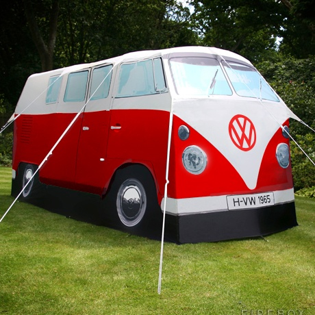 Your '65 Campervan won't run anymore? Neither will this one, a VW Campervan Tent. It's a two-room tent tall enough to allow most campers to stand up and sleeping four or five. No engine, just like your Campervan! On Citymob for $580.00 (5,900 rand).