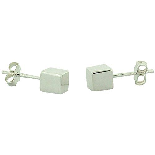 TOC Sterling Silver Cube Stud Earrings 5mm