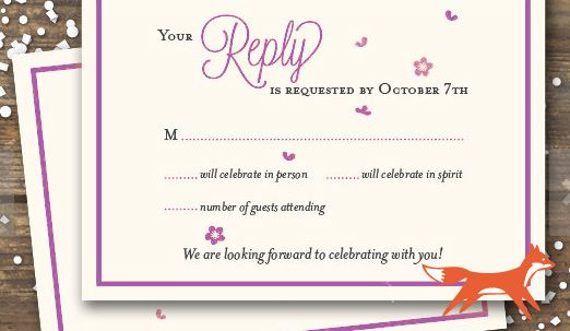 PPaper Wedding RSVP Credit: PaperFoxDesign, Available for purchase at http://www.etsy.com/listing/161102192/wedding-rsvp-reply-card-cherry-b...