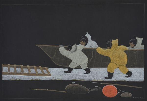 Tim Pitsiulak - Bringing up the Boat 30 x 43.75 Pencil Crayon (186-0510)