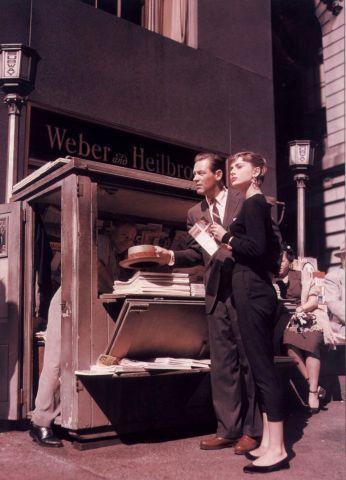 Candid shot of William Holden & Audrey Hepburn during the making of Sabrina (1954).