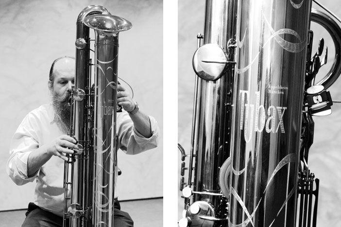 The Tubax Bb subcontrabass saxophone by Benedikt Eppelsheim Wind Instruments, Munich. 1 octave below the bass saxophone. Same fingering as modern saxophone.
