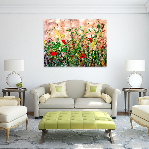 SUMMER FLOWER FIELD, splash acrylic colors technique, 120x70cm board, in living room