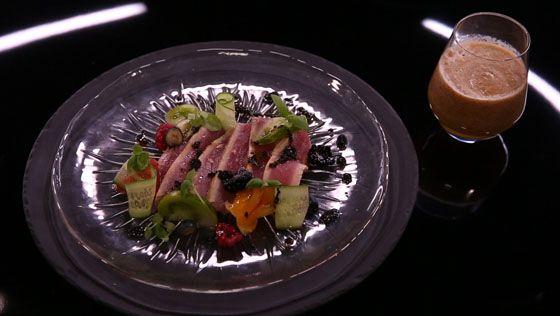 - Thon rouge- Gazpacho de tomates anciennes- Vinaigrette sésame noir