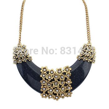 Big luxury exaggerated necklace 2014 Fashion jewelry for Women vintage resin rhinestone Statement Chain Necklaces & Pendants new