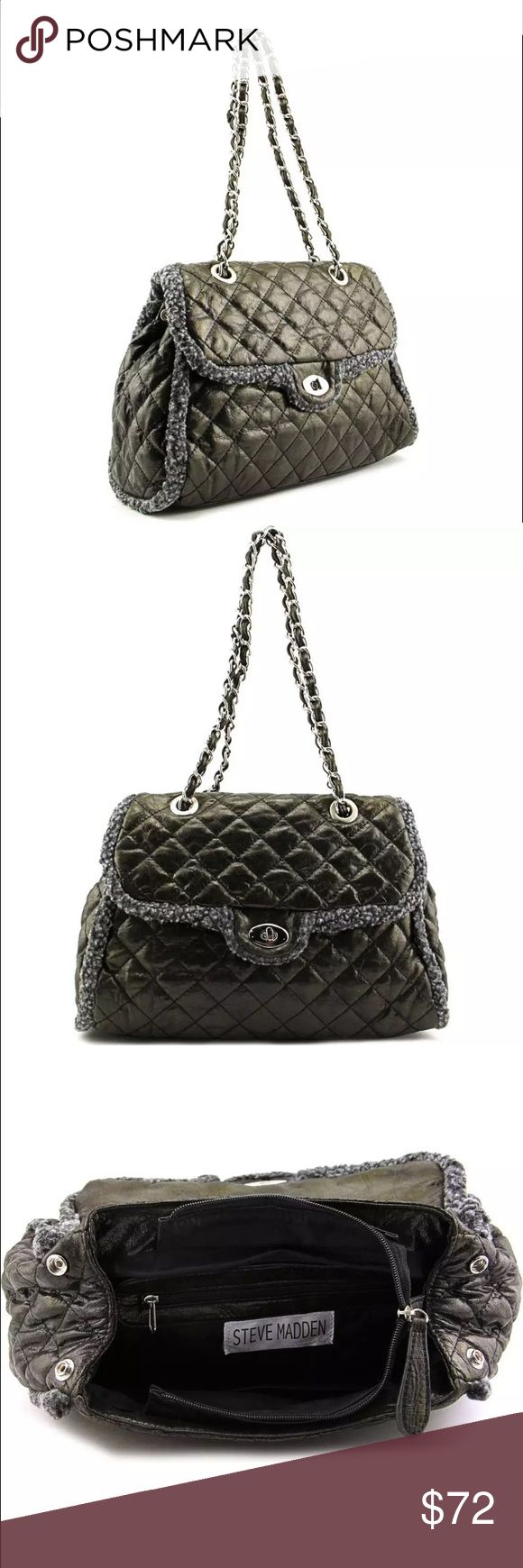 """Steve Madden Jules Black Shoulder Bag NWT RETAIL Steve Madden Jules Women Black Shoulder Bag  CONDITION: Brand New /dye may be different from bag to bag. BRAND/STYLE: Steve Madden Jules COLOR: Black MATERIAL: PVC DIMENSIONS: 10"""" W x 10.5"""" H x 5"""" D SHOULDER STRAP DROP: 12.0 in. SKU: 2599422 Carry your belongings with ease in the Jules bag from Steve Madden . Made of quality PVC materials, this will keep your essentials on-hand with great style. Ask questions if needed since Poshmark sales are…"""