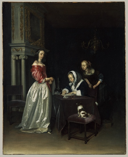 Gerard ter Borch (Dutch, 1617–1681). Curiosity, ca. 1660. The Metropolitan Museum of Art, New York. The Jules Bache Collection, 1949 (49.7.38) #letters #Connections