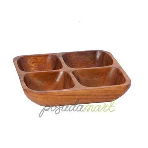 Блюдо Monkey Pod квадратное 4 отделения, 20 см, дерево, темное дерево, серия Столовая посуда, Premier