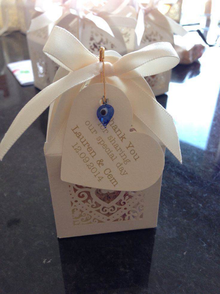 Home made TurkishEnglish wedding favours containing